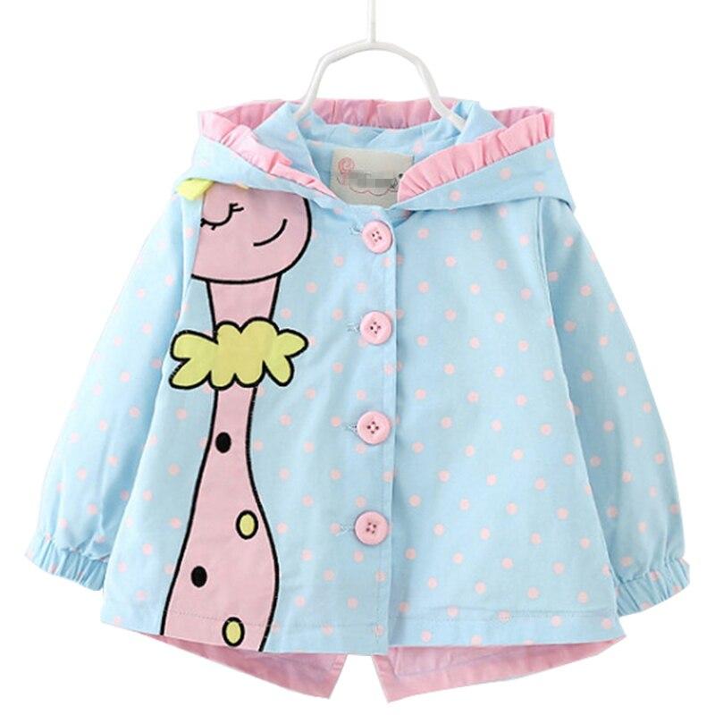 Girls Coat 2018 Autumn Fashion baby girl coats Jackets clothing Baby Clothes cartoon Coats dots hooded Children Outerwear&Coats