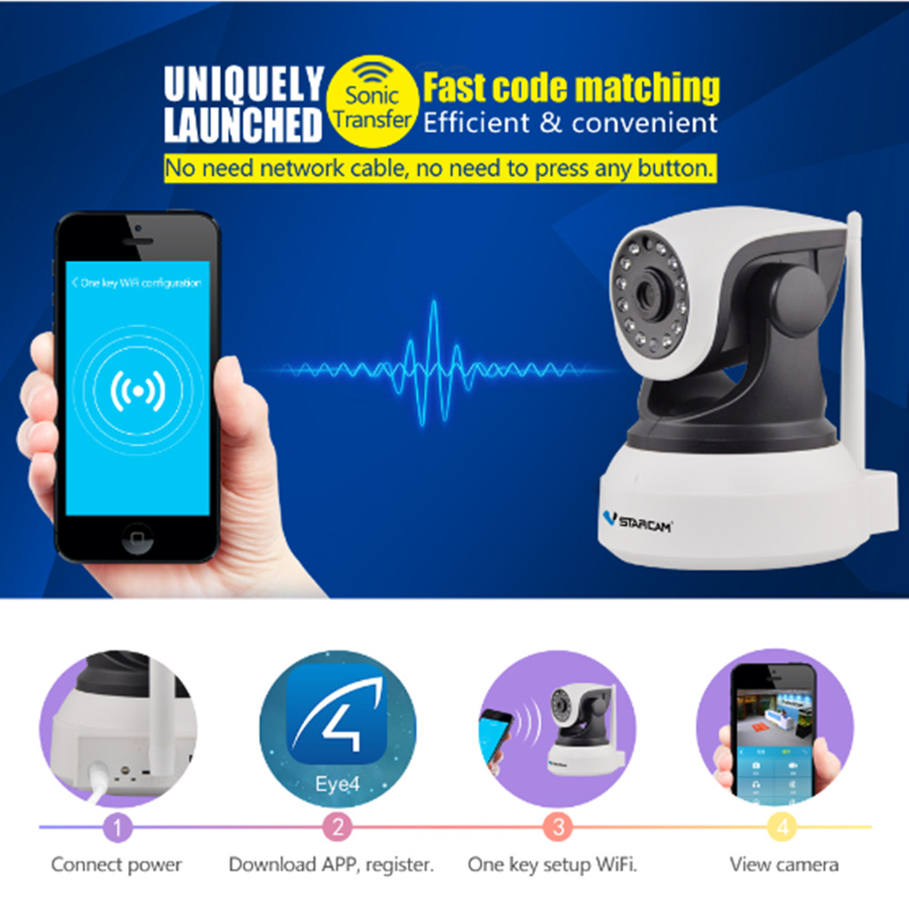 ФОТО VStarcam HD 720P  Wireless IP Camera IR-Cut Night Vision Audio Recording Network CCTV Onvif Indoor IP Free Shipping