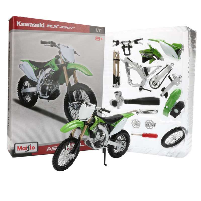 Maisto 1:12 alloy motorcycle model toy assembly motorbike building kits kawasaki kx450f off road diy motor models kids toys for children