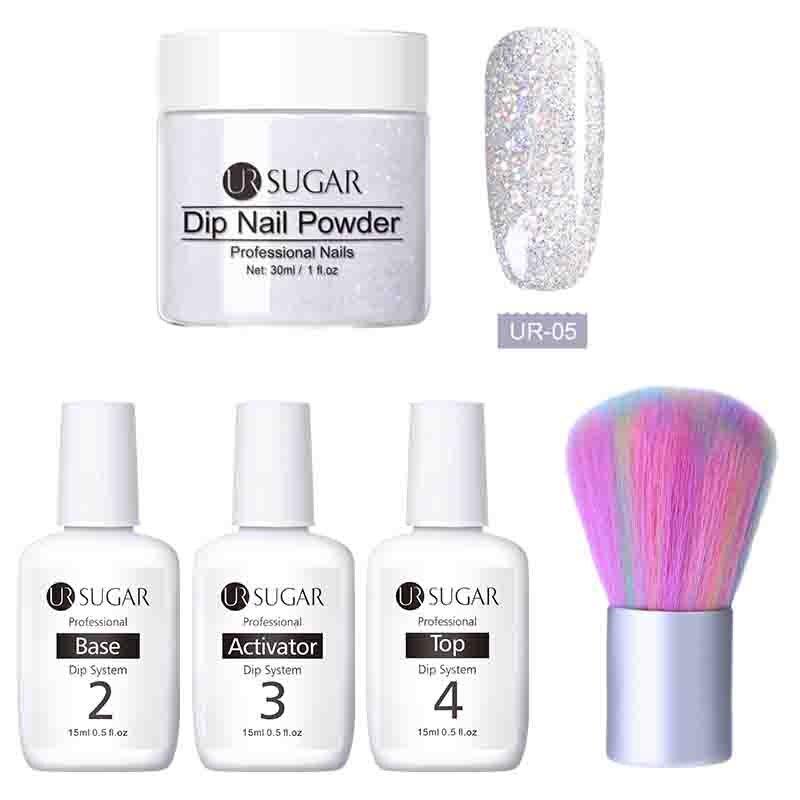 UR AÇÚCAR 5 pçs/lote Mergulhando Glitter Prego Pó Sem Cura Lâmpada Dip Sistema Ativador Líquido Gel Manicure Francesa com Base kit