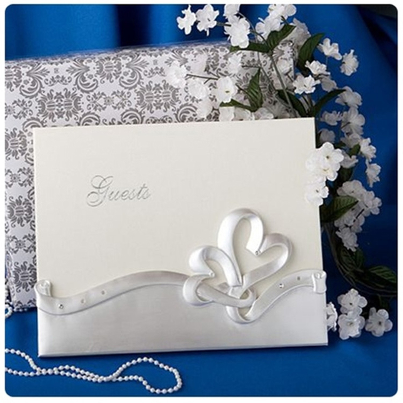 JOY ENLIFE 1set New White Elegant Flower Wedding Guest Book Guestbook Sign  In Book Party Favorsu0026Supplies Decor Baby Shower