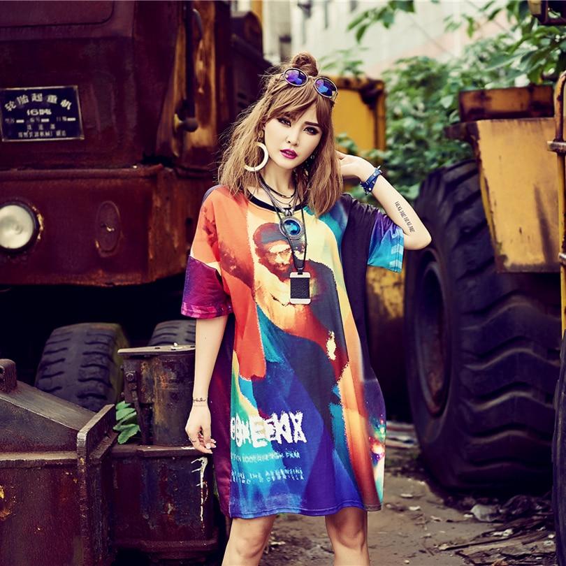 Fashion 2018 Summer Womens Dress Maxi Space Harajuku casual Sexy Dresses Knee-Length Straight Femme Robe Print Character DREES
