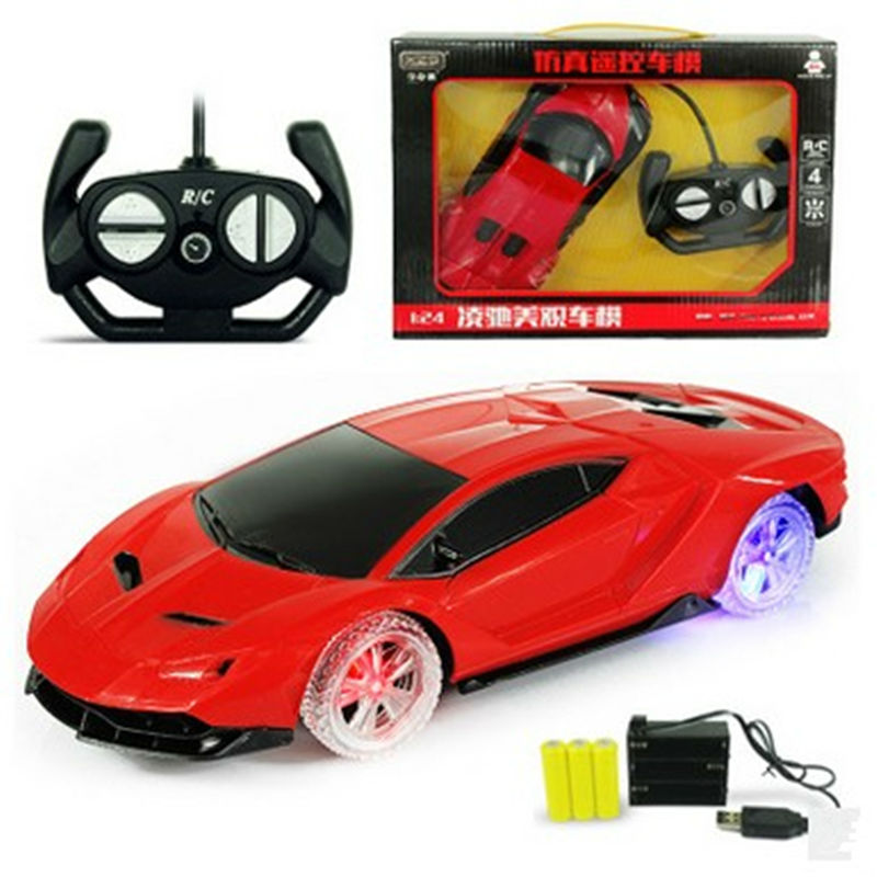 Светещ цвят колело 1:24 4CH RC автомобили колекция радиоуправляеми автомобили могат да бъдат заредени машини на дистанционното управление играчки деца