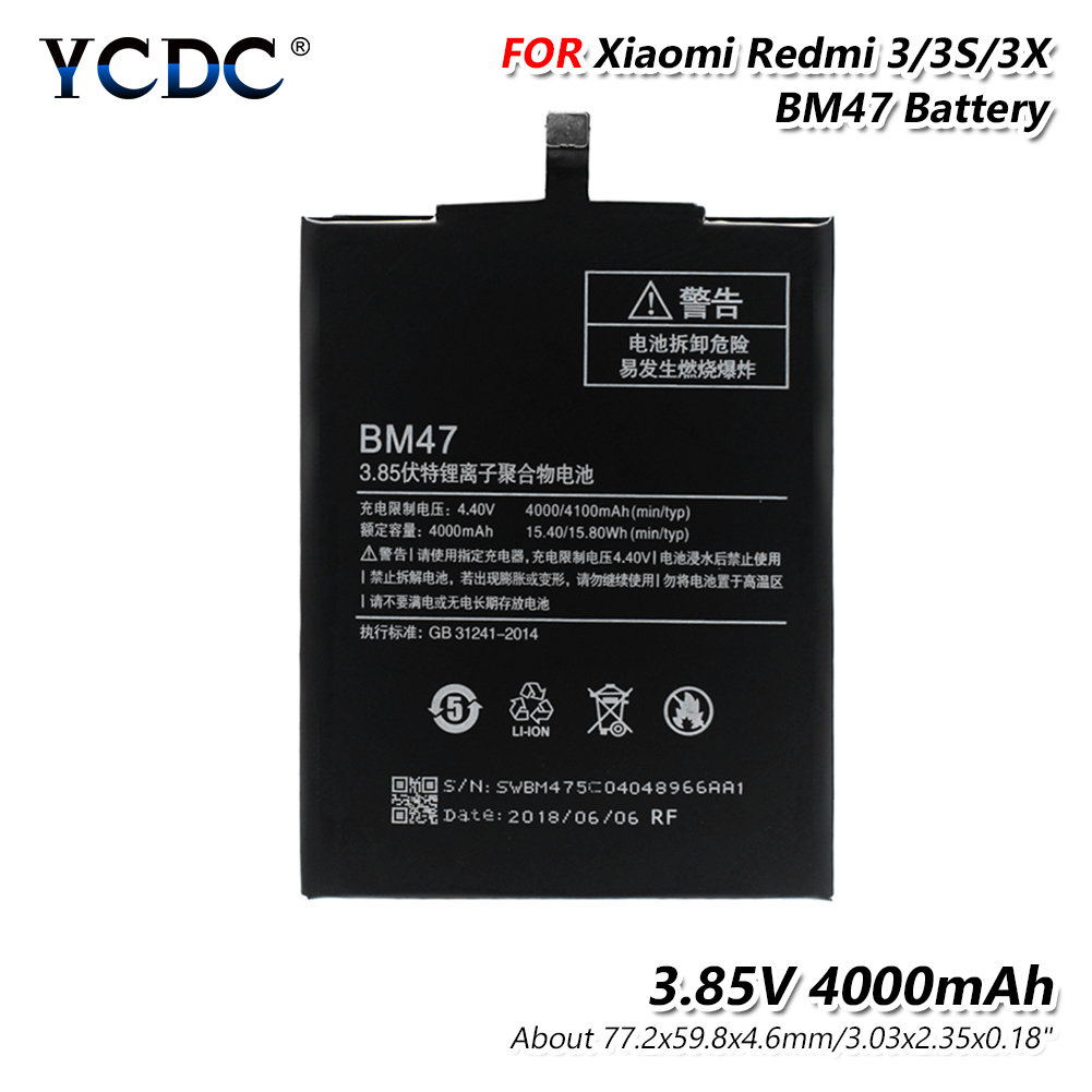 YCDC Original Replacement Lithium Battery For Xiaomi Redmi 3 3S 3X Redmi3 Hongmi BM47 Genuine Phone