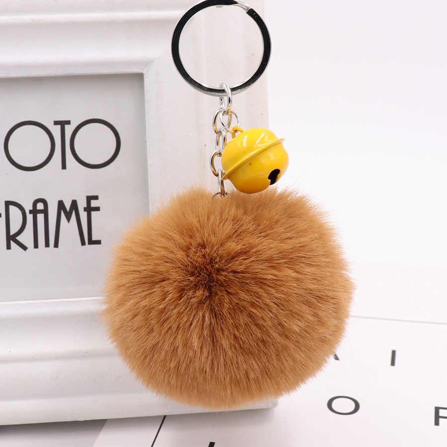 Sino de natal Chaveiro Bola de Cabelo Imitação Coelho Rex Hairball Bolsa Pingente Keychain Do Luxuoso do Natal Presente Da Promoção Jóias