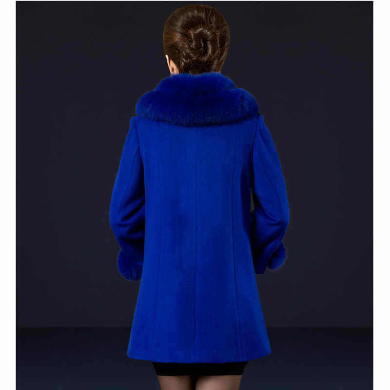 YAGENZ Hohe Qualität Winter Frauen Woolen jacke 2020 Mode Plus Größe Große Pelz Kragen Winter Mantel Elegante Solide Dünne Lange mantel