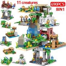 690PCS My World hanging Garden Building Blocks LegoINGLYS Minecrafted Tree House Figure 8 IN 1 Bricks Children Toys Christmas