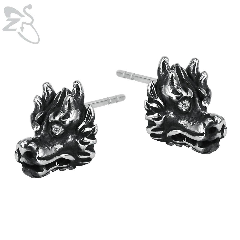 Cool Big Head Huge Dragon Animal Earring Studs Stainless Steel Personality Black Punk Stud Earrings for Men Fashion Ear Jewelry