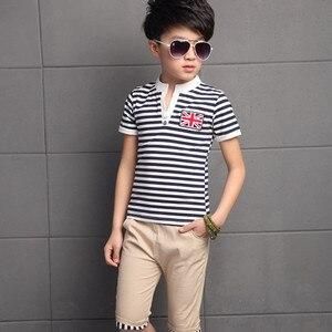 Image 3 - 3 13 lat letnie ubrania chłopięce zestaw 2019 moda 2 sztuki w stylu Casual, w paski z krótkim rękawem odzież dziecięca zestawy T shirt + spodnie