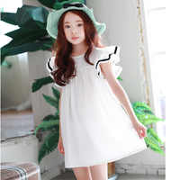 3-15Y Summer Beach Dress For Girls A Line Cotton White Big Princess Girl Children Dress Spring