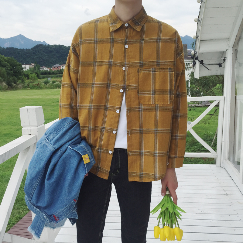 Casual Turmeric Color Popular Lattice Turn Down Collar Long Sleeve Shirt 2018 Autumn Leisure Cotton Comfirt Loose Camisa Homme in Casual Shirts from Men 39 s Clothing