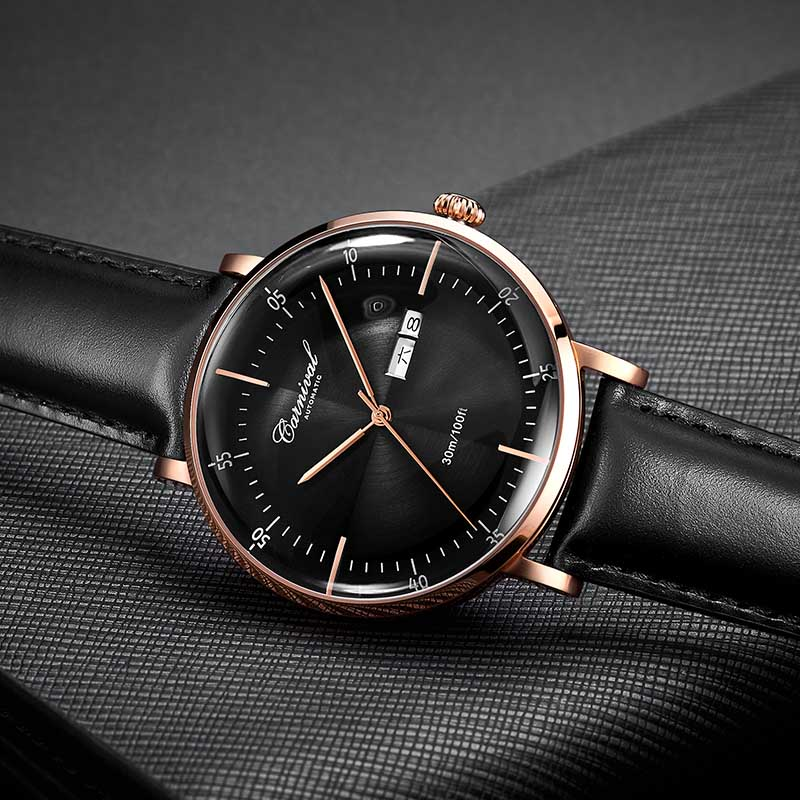 Karneval Mechanische Automatische Uhr Männer Reloj Hombre Lederband Herren Uhren Top Brand Luxus Wasserdicht Gold Armbanduhr-in Mechanische Uhren aus Uhren bei  Gruppe 3