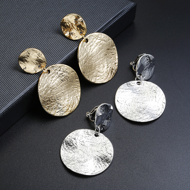 ZA Metal Textured Round Disc Clip On Earrings Without Piercing Statement Geometric Big Circle Earrings No Pierced hole Ear Clips