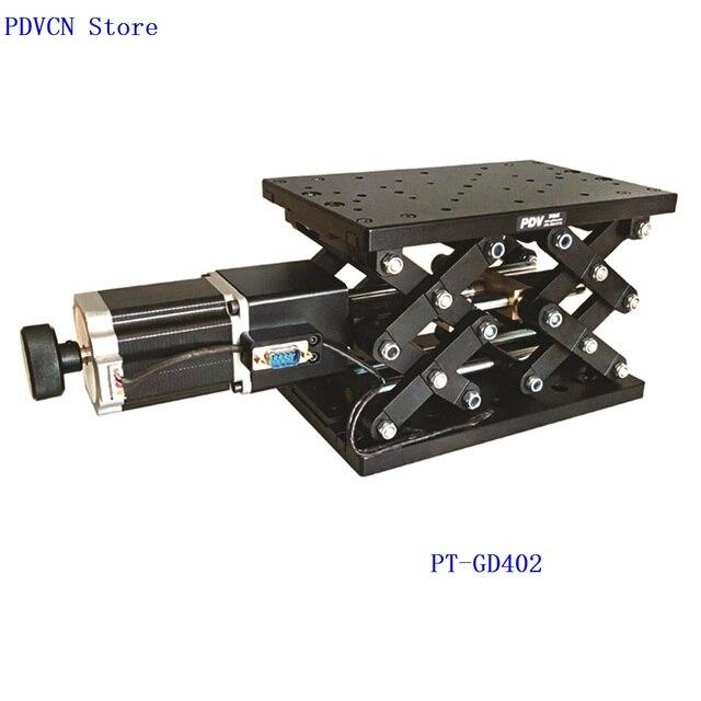 PT GD402 zmotoryzowany podnośnik laboratoryjny, podnoszenie elektryczne platformy, winda, optyczny przesuwny podnośnik, liniowa oś przesuwna 110mm