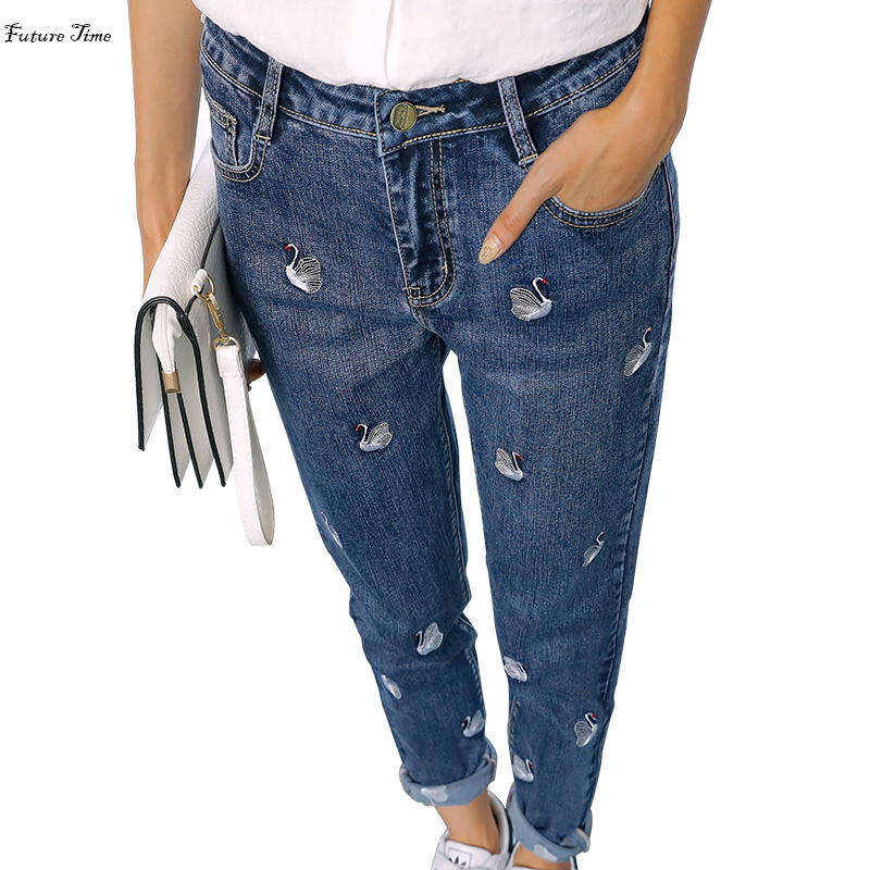 2018 New Women   Jeans   Boy Friend   Jeans   High Waist Stretch Embroidery Swan Pencil Pants Ankle Length Ripped   Jeans   Female C1376