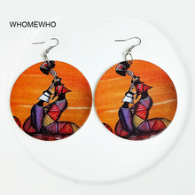 60cm Silver Metal Africa Wood Native African Colorful Earrings Bollywood Vintage Bohemia Party Jewelry Wooden DIY Ear Accessory