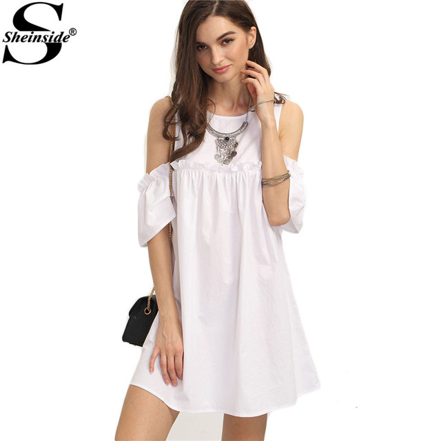 31558cf58c5 Sheinside Ladies Summer White Ruffle Cold Shoulder Shift Dress 2016 Round  Neck Half Sleeve Straight Mini