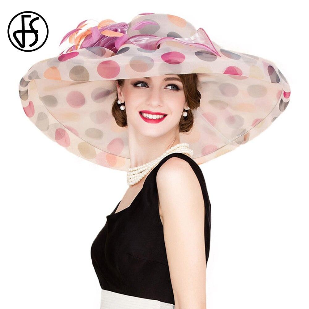 FS British Style Fascinator Organza Summer Hats For Women Pink Black Lady Wide Brim Large Wedding Hat With Flower Fedoras