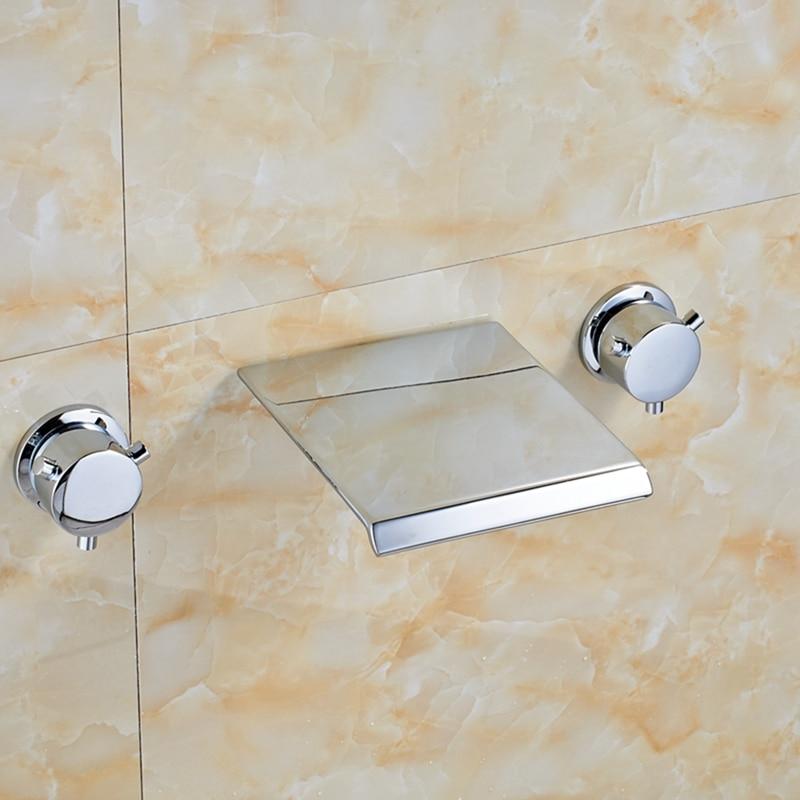 Здесь продается  Polished Chrome Widespread Waterfall Spout Bathroom Tub Faucet Dual Handles Tap  Строительство и Недвижимость
