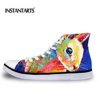 INSTANTARTS Artistic Painting Animal Printed Men S Vulcanize Shoes Spring Summer Breathable High Top Canvas Shoes