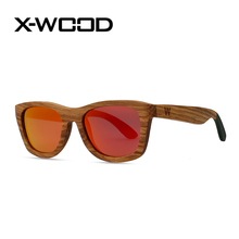 X-WOOD Zebra Wood Sunglasses Men Fashion High Quality UV400 Handmade Bamboo Wooden Sunglasses Man Polarized Eye Wear Sunglass
