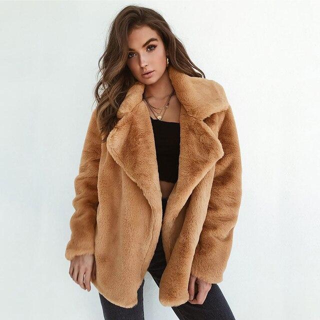 1bc6e72adbf Winter Women Jackets Solid Thicken Warm Plush Faux Fur Coat Female Sexy  V-neck Soft