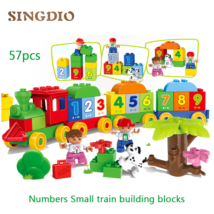 HM136 57PCS Large particle building blocks models Early Learning montessori educational toy friends games for kids train bricks large particle building blocks figures
