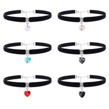 Fashion 6PCs/ Set Black Velvet Choker Necklace Women Austrian Crystal Heart Necklaces Pendants Gothic Punk Chokers Women Jewelry