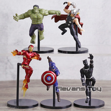 PUTITTO The Edge Of Cup  Avengers Iron Man Hulk Captain America Thor Black Panther PVC Figures Toys Dolls 5pcs/set