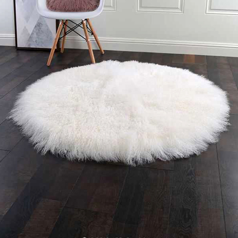 Smart Electronics Cx-d-137a Patchwork Winter Fluffy Fox Fur Round Shaggy Area Rug Round Fur Carpets Throw For Living Room Decor
