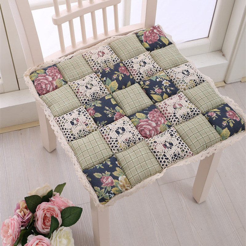 Flowers Pattern Patchwork Chair Cushion,Decorative Pillows For Home Children Decor Pillows Dining Chair Sofa Car Seat Cushion