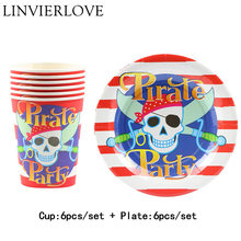 12pcs Cartoon Red Pirate Paper Cups+Plates Weddiing Birthday Decoration Baby Shower Festival For Kids Tableware Party Supplies(China)