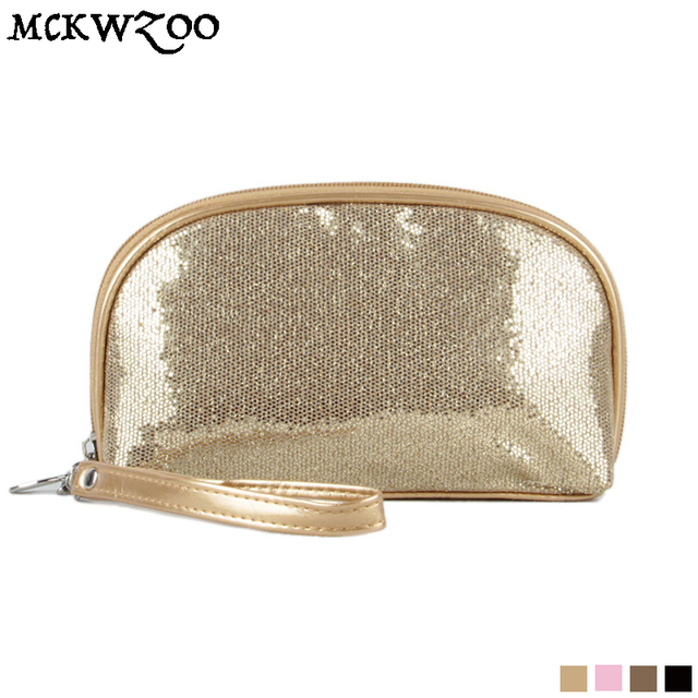 Blingbling Glitter Sequins Gold Makeup Bags Evening Party Day Clutch Handbag Toiletry Cosmetic Bag