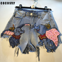 Brand Denim Shorts Lady 2019 Summer New Bead Sequins Flying Elephant High Waist Cowboy Shorts Women's Holiday Hot Pants