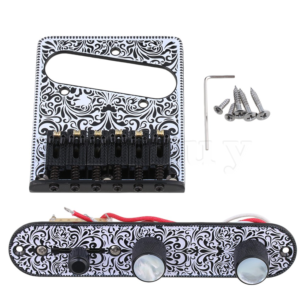Yibuy Black & White Pre-wired Control Plate 3 Way Switch Knobs Tremolo Bridge for Electric Guitar Replacement chrome plated wired control plate for jazz basstotal approx 152 54 mm l