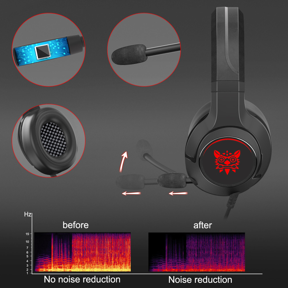 TOMTIF Over Ear Wired Headphones Gaming ps4 Headset RGB LED for PC Game Stereo Bass Headphone Headband Cushion with Microphone in Headphone Headset from Consumer Electronics