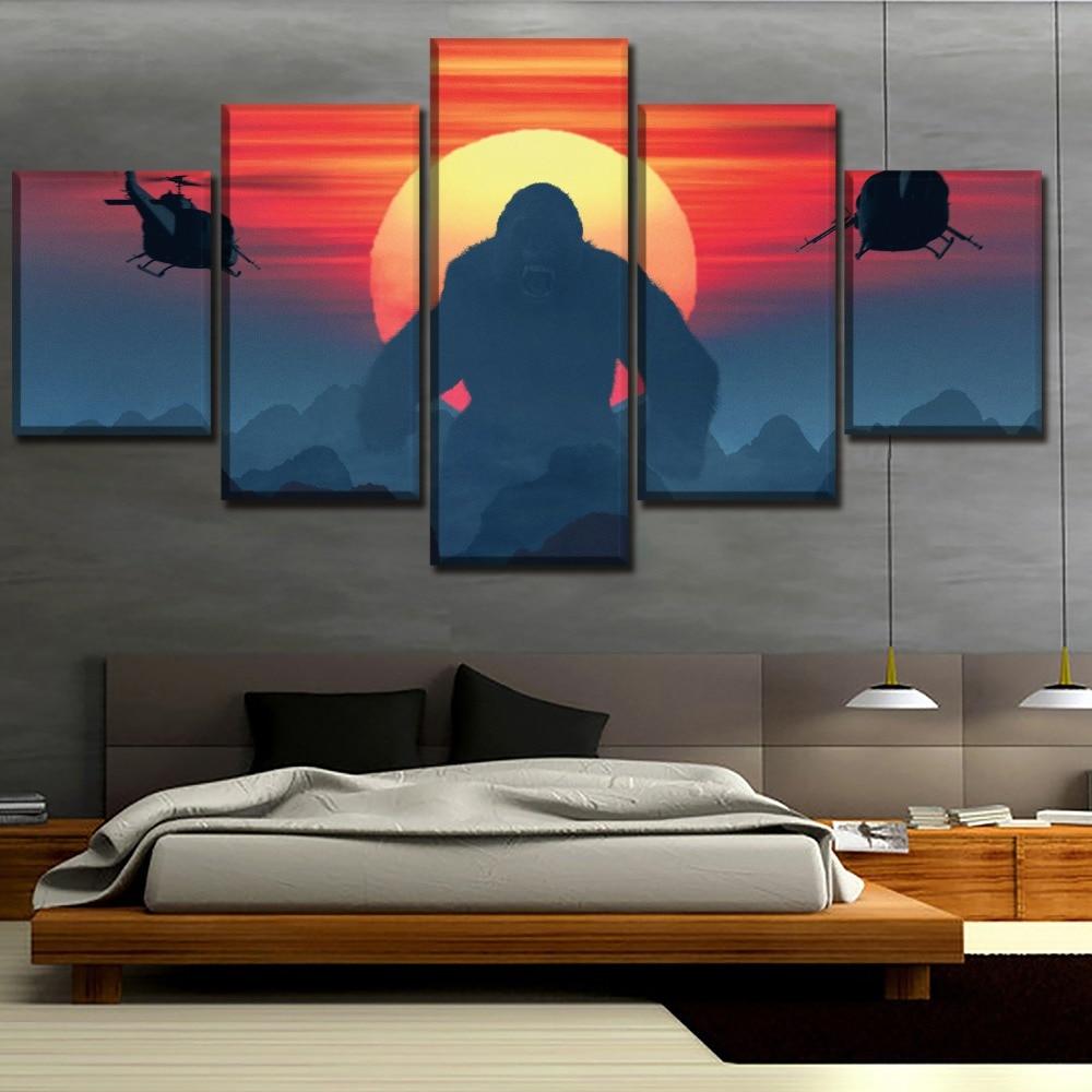 5 Panel Kong Skull Island Adventure Movies Poster Top