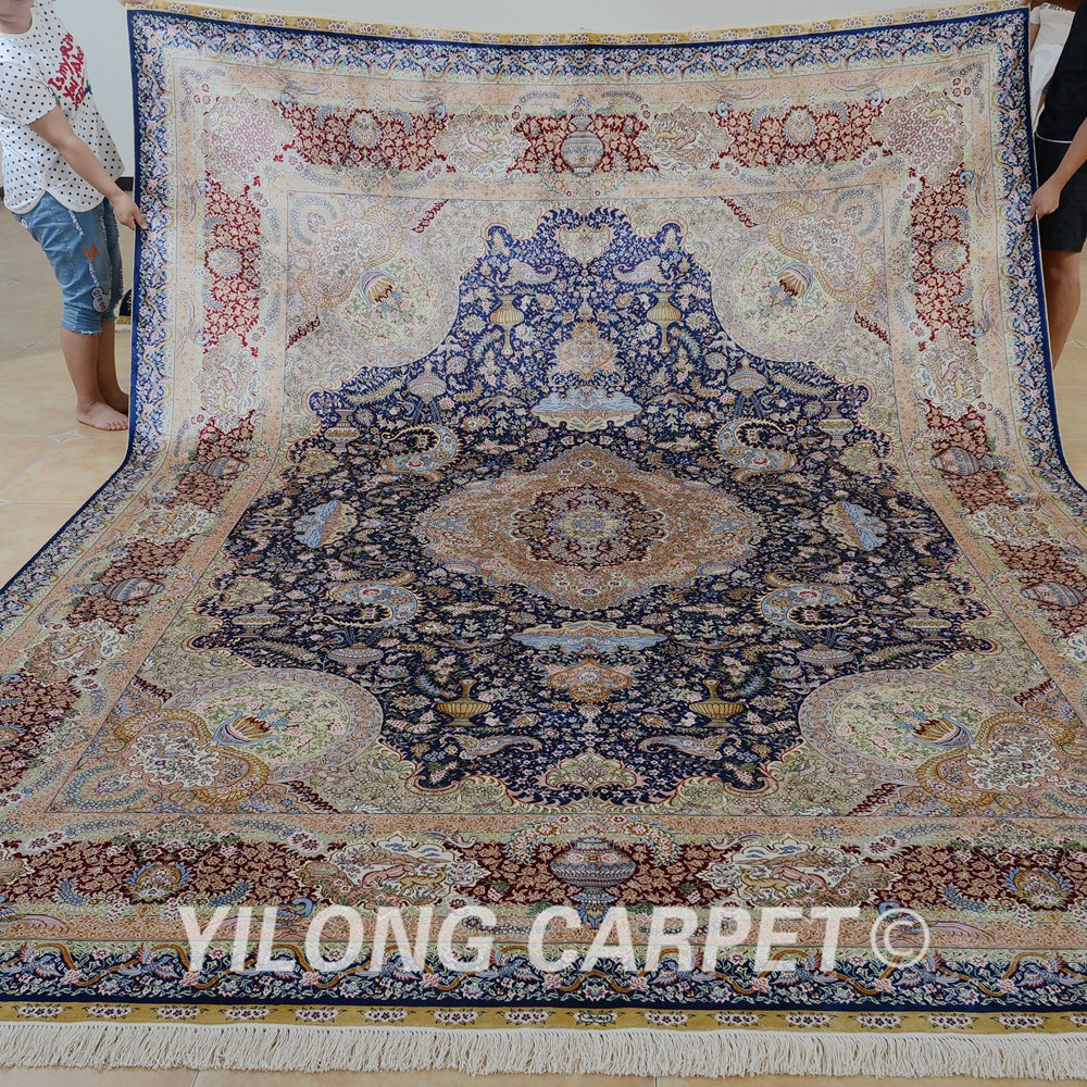 Yilong 9'x12' Turkish Knots Persian Silk Home Rug Handmade