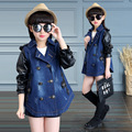Girls Outerwear Patchwork Denim Coats For Girls Double Breasted Pu Jackets Brand Children Clothing 4 5 7 9 11 12 Years Kids Tops