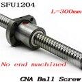 1 pçs/lote 1204 Parafuso DA Esfera SFU1204 300mm Laminados Ballscrew com único Ballnut para peças CNC