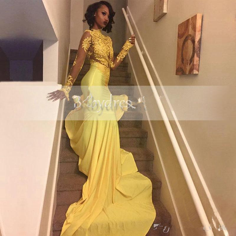 2019 Pretty Yellow African Lace Appliqued South African   Prom     Dress   Mermaid Long Sleeve Banquet Evening Party Gown Custom