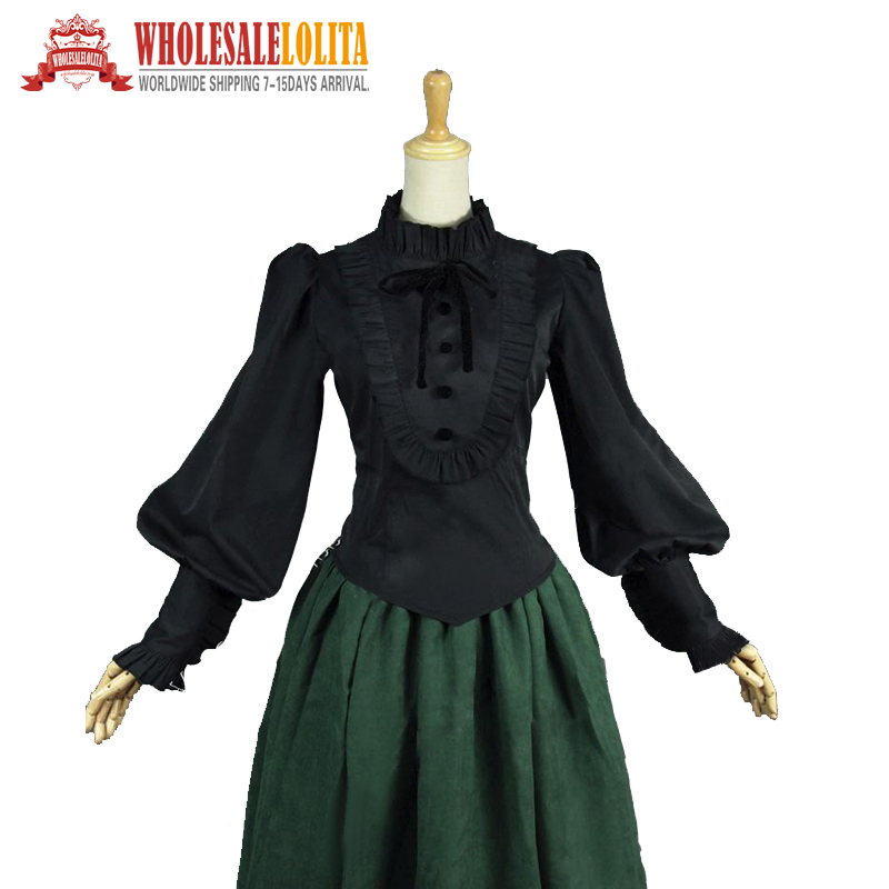 Victorian Edwardian Romantic Gothic Steampunk Black Penny Dreadful Blouse Shirt Top Theater Costume penny dreadful volume 1
