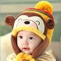Moda Meninos Meninas Chapéus de Algodão Do Inverno Do Bebê Urso Chapéu Infantil Caps Com Pompom Adereços Fotografia Cap + Cachecol Define Bebê acessórios