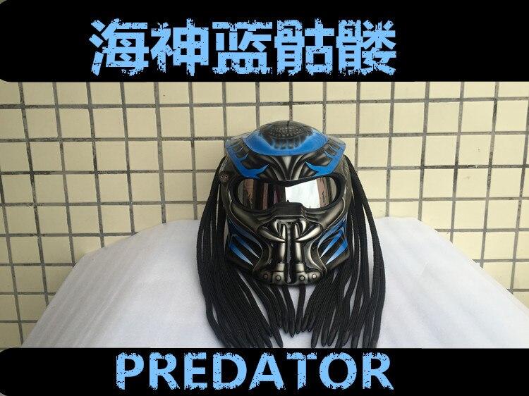 MASEI Blue Predators mask fiberglass neca motorcycle helmet Full face iron man moto DOT M L XL