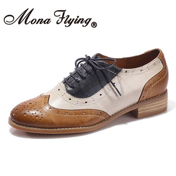 Mona flying Womens Leather Perforated Lace-up Oxfords Mixed Colors Brogue Wingtip Saddle Shoes for Girls ladis Womens CS-A068