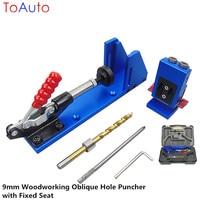 Novo punch 9mm oblíquo buraco positioner carpintaria furador chanfro entalho ângulo kit positioner com assento fixo caixa de plástico|Peças de ferramentas| |  -