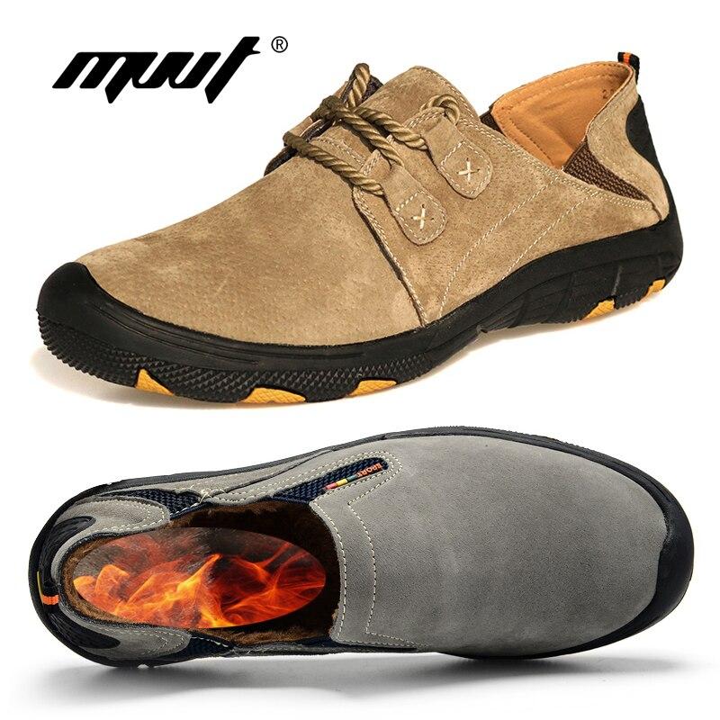MVVT comodidad Zapatos casuales de cuero genuino Zapatos de los holgazanes de los hombres de gamuza de los hombres de invierno Zapatos transpirables Zapatos al aire libre Zapatos de entrenamiento caminando Zapatos