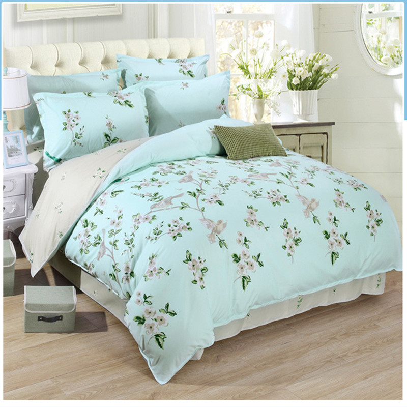 Aloe Cotton Blend Blue King Queen Size 4pcs Bedding
