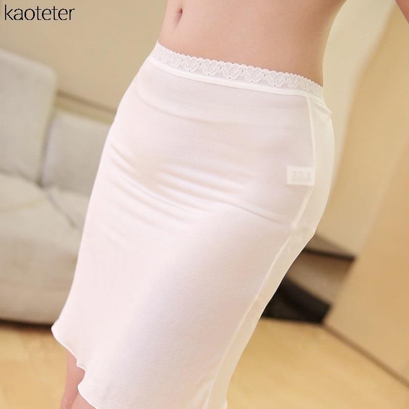 100-Pure-Silk-Women-s-Half-Slips-Femme-Simple-Thin-Sexy-Lace-Elastic-Slim-Underskirts-Women