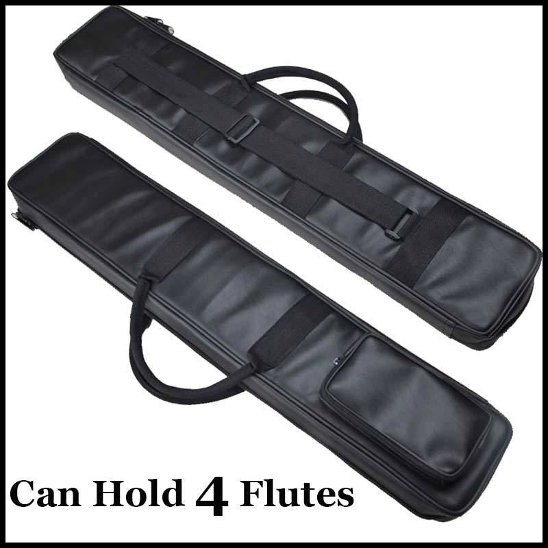 Chinese Flute Dizi & Xiao Case Black Imitation Leather Bag Traditional Musical Instrument Flauta Pouch Cover Can Hold 4 Flutes